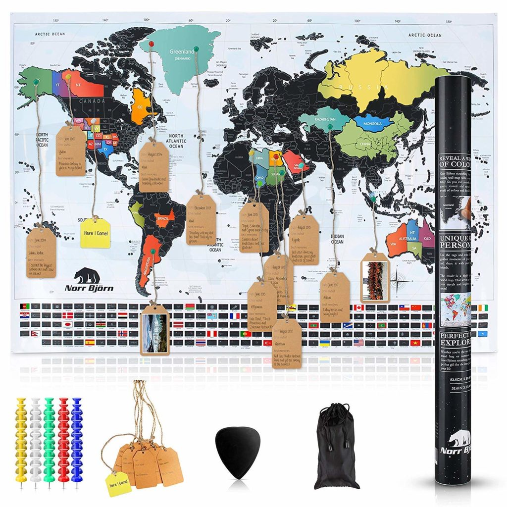 Scratch Off World Map with Tags & Pins